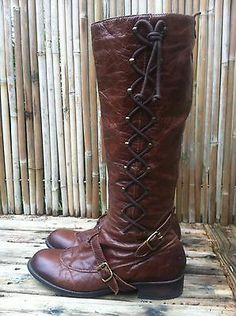 Schuler Sons Philadelphia Anthropologie Brown Leather Knee High Lace Up Boots Xena Costume, Pu Leather, Brown Leather, Military Combat Boots, Lace Up Boots, Philadelphia, Riding Boots, Sons, Anthropologie