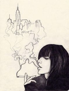 Moleskine art - Urban Effing Cancer by sol-Escape . Sketch / Drawing Inspiration THE city is so simple but so beautiful Cool Sketches, Cool Drawings, Drawing Sketches, Creative Sketches, Art Inspo, Drawn Art, Ouvrages D'art, Art Et Illustration, Urban Sketching