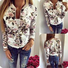 White Floral Print Band Collar Zipper Long Sleeve Fashion Coat