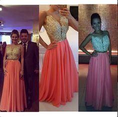 Length Evening Dresses, Real Made Evening Dresses,Chiffon Sequins Evening Dresses, Charming Evening Dresses