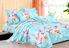 Colorful Flowers Printed 4 Piece Cotton Bedding Sets
