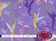 Tinkerbell Fabric by the Yard Disney Fairy Fabric by FabricBrat, $7.49