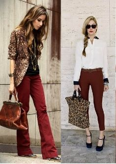 Killer Combo: Burgundy pants Leopard Black... Fall must do with a bad ass lip
