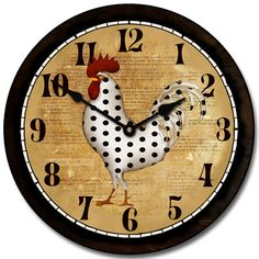 "Rooster lovers will always enjoy a new clock, ""Spots"" 12"" 49.00 with the extra 10% off  cost$ 44.10 Ships Free http://www.clocksaroundtheworld.com/rooster-wall-clocks.html"