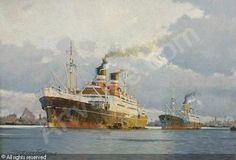Victor Qvistorff (1882-1953): Hafenszene mit zwei Auswandererdampfern, 1948