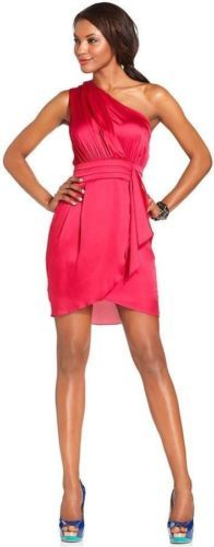 BCBG One Shoulder Dress Red Ruby Satin Pleated Flair Greek Goddess Dress | FREE BRAND NAME GIFT + FREE SHIPPING