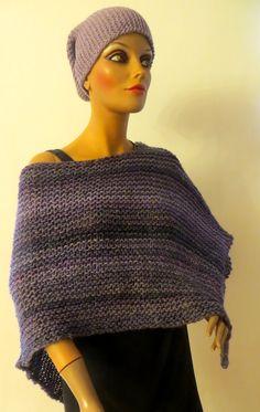 handmade poncho, violett, wool Crochet Hats, Wool, Handmade, Fashion, Ponchos, Scarf Crochet, Handarbeit, Breien, Knitting Hats