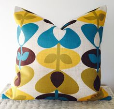 Retro pillow cover retro cushion cover mustard by AugustPlaceUK