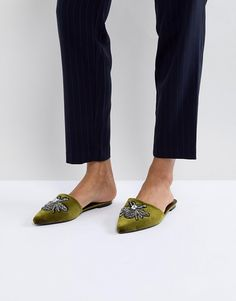 Glamorous | Glamorous Pointed Mule in Green With Bee Embellishment $51