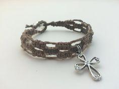 Brown Cross Macrame Hemp Bracelet by HemptressDesigns on Etsy