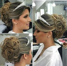 Best Wedding Hairstyles Updo With Tiara Ideas Wedding Hair And Makeup, Wedding Updo, Bridal Hair, Wedding Hairstyles With Crown, Tiara Hairstyles, Romantic Hairstyles, Quinceanera Hairstyles, Prom Hair, Marie