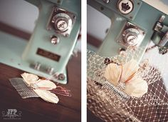 Vintage hair pin and birdcage veil. Photographed by Jessika Feltz Photography