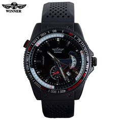 2016 Winner brand men's automatic self wind mechanical watches fashion casual sports wristwatches Rattrapante date rubber strap #>=#>=#>=#>=#> Click on the pin to check out discount price, color, size, shipping, etc. Save and like it!