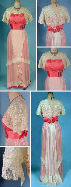 Evening gown, ca. 1912. Bright coral satin and ecru crepe chiffon and lace. Slight train. Antique Dress via The Wayback Machine