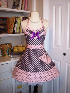 Pink polka dot lips apron pin up girl apron womans by Mimi's Needle and Thread find me on Etsy and Facebook