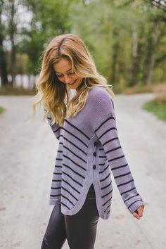 Button Up- Striped Sweater