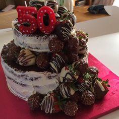 Natural strawberry birthday cake