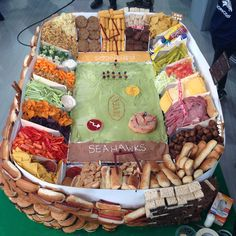 Granted, this one was super-sized and constructed on live television, but the general concept will hold for your Super Bowl party.