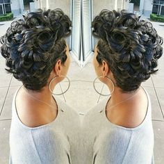 STYLIST FEATURE  Love the texture of this curly #pixiecut ✂️ styled by #ArlingtonTX stylist @Nikki_H_Stylist❤️ EVERYTHING #VoiceOfHair