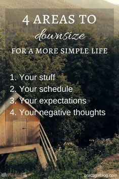 There are 4 key areas that you should downsize to simplify your life. Downsizing isn't only about moving into a smaller home. Find out what you need to downsize now! Declutter your life so that you can live the life you want. This post will give you ideas The Simple Life, Simple Living, Simple Life Quotes, Simple Things, Stress Management, Glenn Jones, What You Can Do, Way Of Life, Live Your Life
