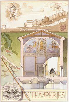 #ArchitectureWatercolor traditional presentation, David Mayernik: Villa Aeolia, Analytique