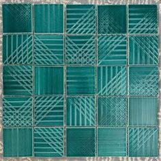 Beautiful turquoise tiles perfect for a backsolash or shower! 4x4 Linea tile shown in T36 Lagoon. Availabke in 70 colors made in Nashville, TN Turquoise Tile, Tile Art, Tiles, Decorative Tile, Kitchen Styling, Backsplash, Modern Decor, Cassie, Tableware