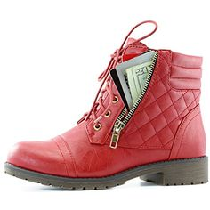 DailyShoes Women's Military Lace Up Buckle Combat Boots Ankle High Exclusive Credit Card Pocket, Red Pu, 7