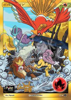 Legendary Trio & Ho-Oh Fire Energy PIGREAK Custom Pokemon Card Pika Pokemon, Pokemon Dragon, Pokemon Cards Legendary, Pokemon Heart Gold, Pokemon Couples, Pokémon Cards, Fusion Art, Create An Avatar, Dragon Pictures