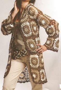 Lindo chaleco tejido a crochet con cuadros de colores ideal para las tardes de otoño, talla 42-44 OjoconelArte.cl  