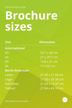 Brochures come in many different sizes and the size you choose depends on the purpose of the brochure. Whether you're creating posters for a product, service, campaign, or purely for fun, you need to know your brochure sizes. Learn more with our design sizes guide.