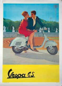 Buy online, view images and see past prices for Vintage Poster - Vespa GS Ad. Invaluable is the world's largest marketplace for art, antiques, and collectibles. Moto Scooter, Vespa Ape, Lambretta Scooter, Scooter Girl, Vespa Scooters, Vespa Girl, Vespa Vintage, Vintage Ads, Vintage Italy