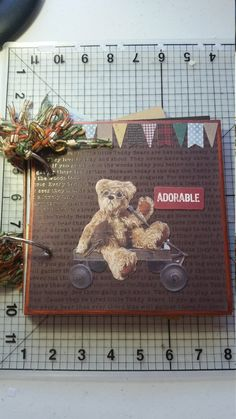 This journal measures 7 x 6 inch and is bound with 2 binder rings. It has 7 pages, 5 with fold out pockets and 2 with tuck spots. There are 6 bags containing ephemera and tags. Junk Journal, Binder, Ephemera, I Shop, Teddy Bear, Christmas Ornaments, Holiday Decor, Etsy, Xmas Ornaments