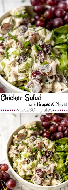 long collage photo of chicken salad with grapes