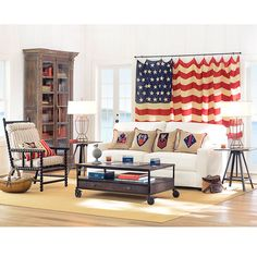 idea for hanging antique flag...hot dog, I told Dale I would find some cheaper wAy to display his grandpas flag !LOVE THIS