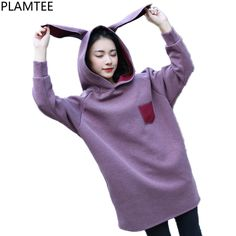 590f246018dc PLAMTEE Sweet Rabbit Ears Hoodies Women Hooded Sweatshirt Loose Solid  Oversize Hoodie Autumn Winter Moletom 2017