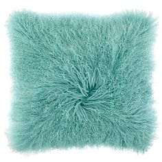 Add high style to any space with our aquamarine Mongolian Pillows.