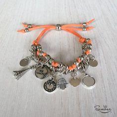 Clementina Pulsera. Naranja Claro. Lanyard Bracelet, Beaded Wrap Bracelets, Beaded Jewelry, Jewelry Bracelets, Handmade Jewelry, Bracelet Designs, Fashion Bracelets, Jewelry Crafts, Jewelery