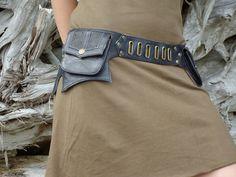 Leather Utility Belt Bag Steampunk Hip bag with Pockets in Black