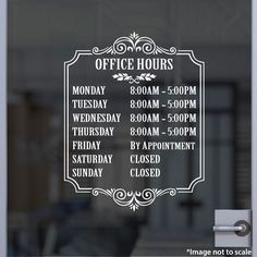 Office Hours  | Stickertitans.com | Custom Business / Office / Shop / Salon / Restaurant Open Hour Vinyl Decal | Hours of Operation | Our Vinyl Signs are made from Oracal 651 | 470-585-2229
