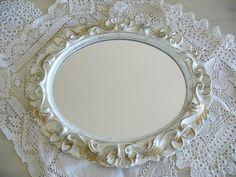 Ornate Shabby Chic White Vanity Mirror