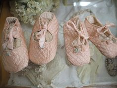 so sweet ... antique quilted crib shoes