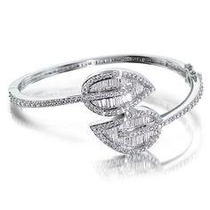 Eternal Vines Modern Double Leaf CZ Diamond Bridal Bracelet