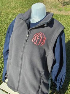 Monogram Fleece Vest with Pockets Zip Up Layering by finethreadart, $26.00    Yes yes yes yes.  Navy, White thread, script circle, MMA