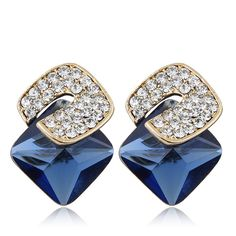 New Trendy Crystal Beads square imitation gem cube Earrings fashion accessories for women wholesale