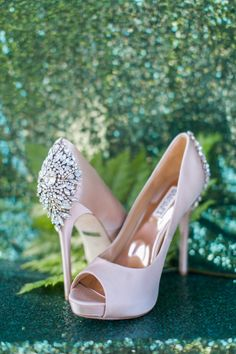 Sparkly Badgley Mischka shoes to obsess over: http://www.stylemepretty.com/little-black-book-blog/2015/09/01/jewel-tone-forest-wedding-inspiration/ | Photography: Heather Cook Elliott - http://heathercookelliott.com/