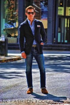 Blazer And Jeans Outfit For Men S Blue Navy