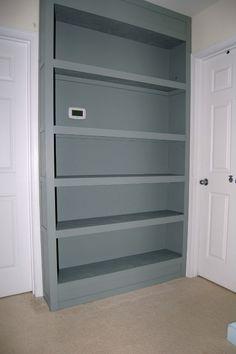 Built In Bookcase Tutorial Kids Basement, Basement Bedrooms, Attic Bedrooms, Bedroom 2017, Master Bedroom, Built In Bookcase, Bookcases, Murphy Beds, Bunk Bed