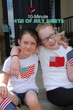 10-minute 4th of July shirts for the parade! Yay! Looks super quick & easy. #kids #tshirt #DIY #crafts #sewing From tatertots & jello.