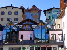 Windows, windows, windows.  Andalo town, Trentino region, Italy