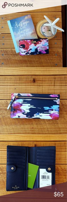 """KATE SPADE STACY LAUREL WAY WALLET -stacy laurel way printed bluryfloral wallet -stacy WLRU2681 -6.6""""L x 2.5"""" H x 0.5"""" W -snap closure -12 card slots -4 billfold compartments -id window -floral exterior features crosshatched leather -navy blue interior -14-karat gold plated hardware -zip pocket for coins -brand new with tags -comes from a smoke-FREE & pet-FREE home kate spade Bags Wallets"""